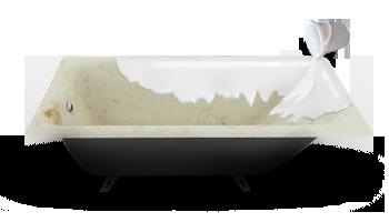 Нанесение жидкого наливного акрила на ванну